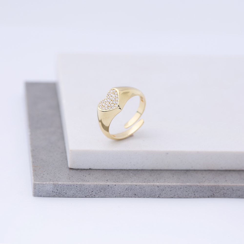 Zircon Stone Heart Design Adjustable Ring Wholesale 925 Silver Sterling Jewelry