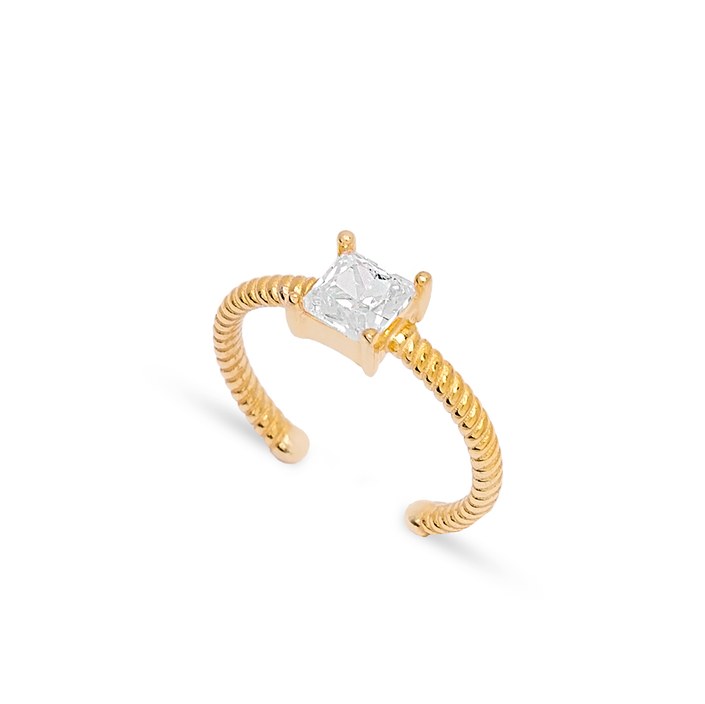 Square Zircon Stone Minimal Design Adjustable Ring Wholesale 925 Silver Sterling Jewelry