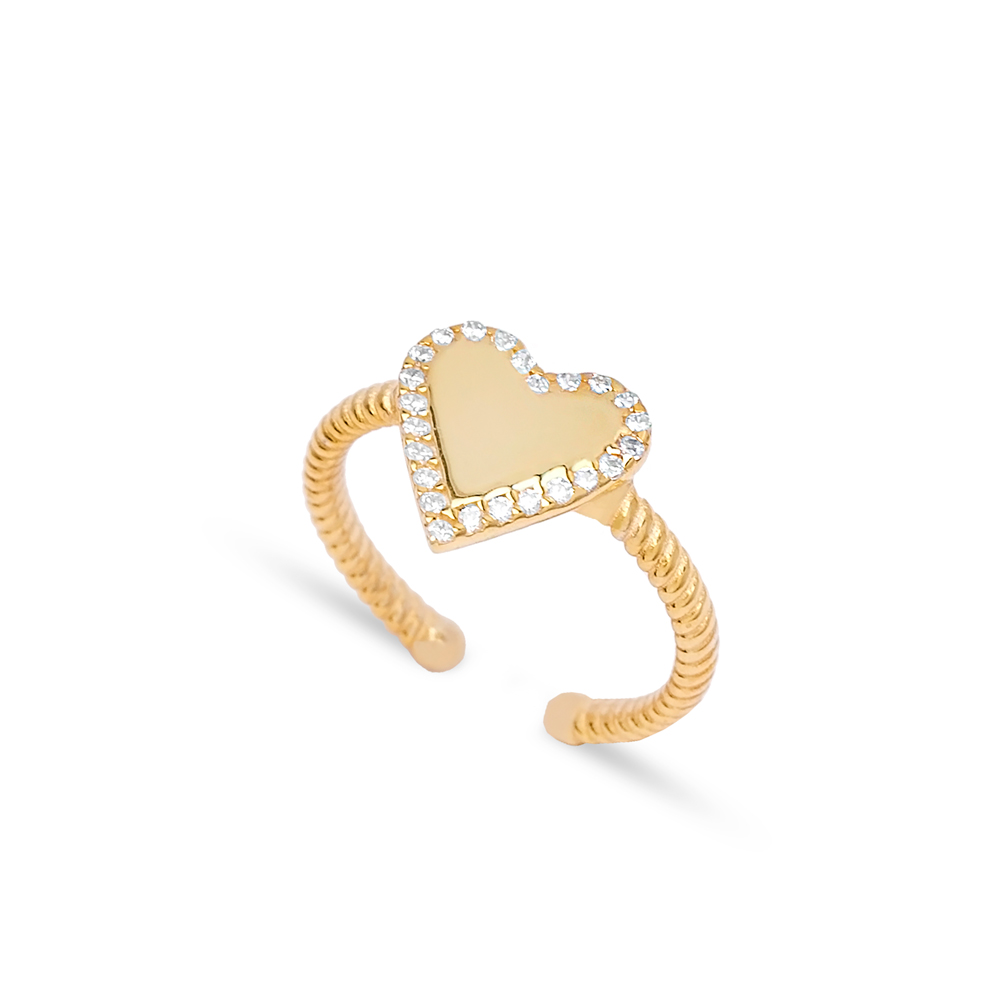 Trendy Heart Design Minimalist Adjustable Ring Wholesale 925 Silver Sterling Jewelry