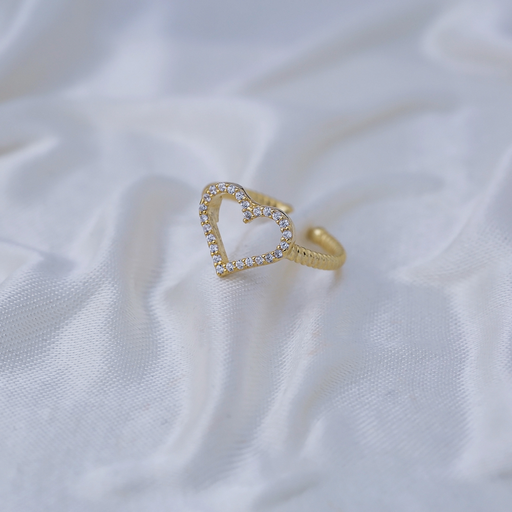 Hollow Heart Shape Adjustable Ring Turkish Wholesale 925 Silver Sterling Jewelry