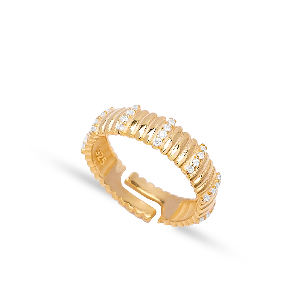 Dainty Design Zircon Stone Adjustable Ring Turkish Handmade 925 Silver Sterling Jewelry