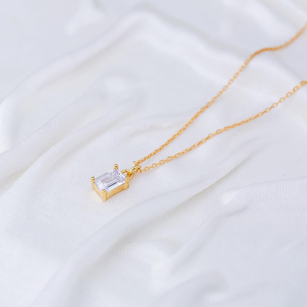 Minimalist Baguette CZ Stone Charm Pendant Turkish Handmade 925 Sterling Silver Jewelry