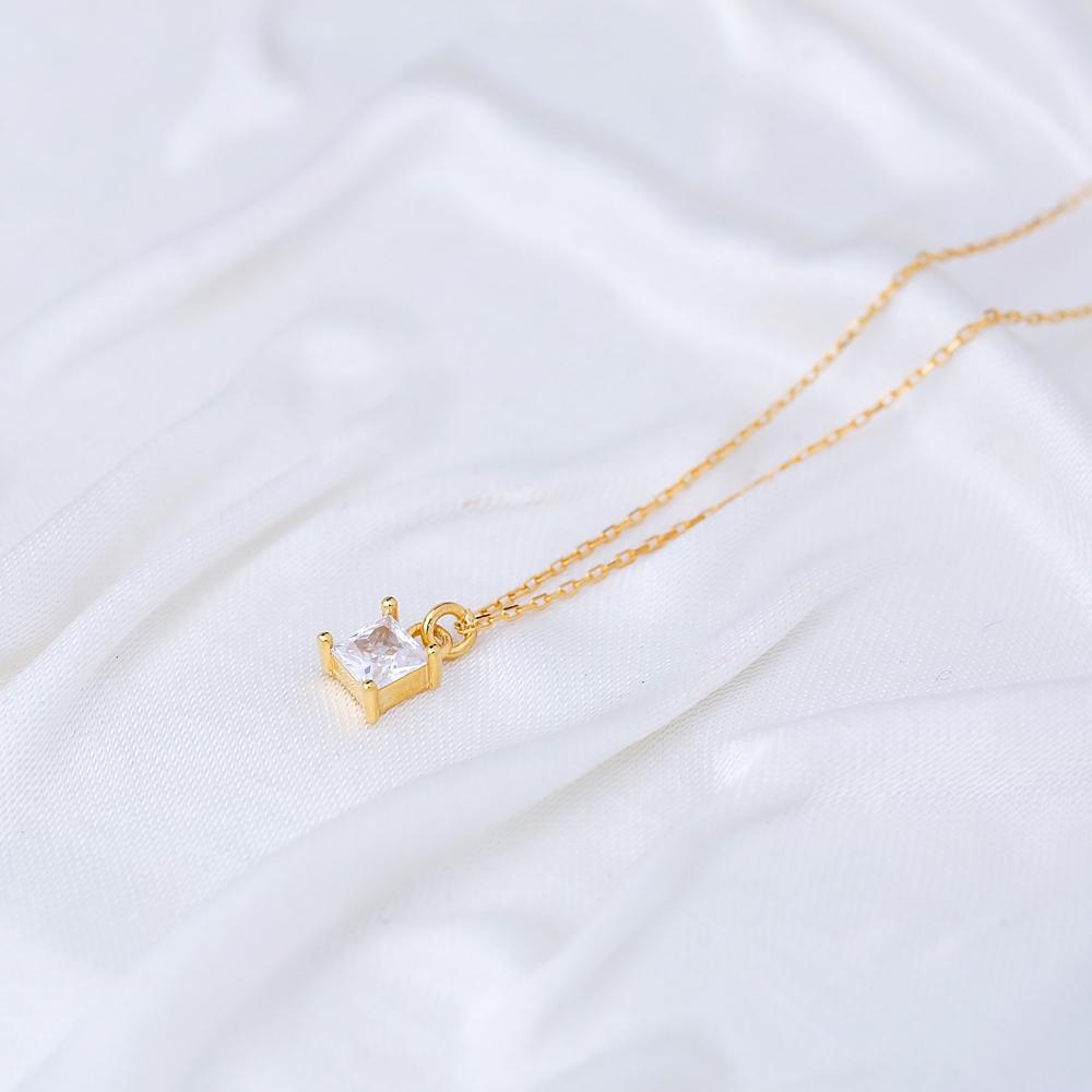Minimalist Square Shape CZ Stone Pendant Turkish Handmade 925 Sterling Silver Jewelry