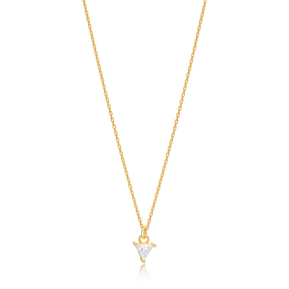 Minimalist Triangle Shape CZ Stone Pendant Turkish Handmade 925 Sterling Silver Jewelry