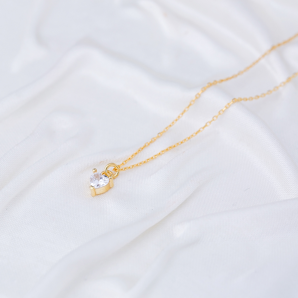 Minimalist Heart Shape CZ Stone Pendant Turkish Handmade 925 Sterling Silver Jewelry