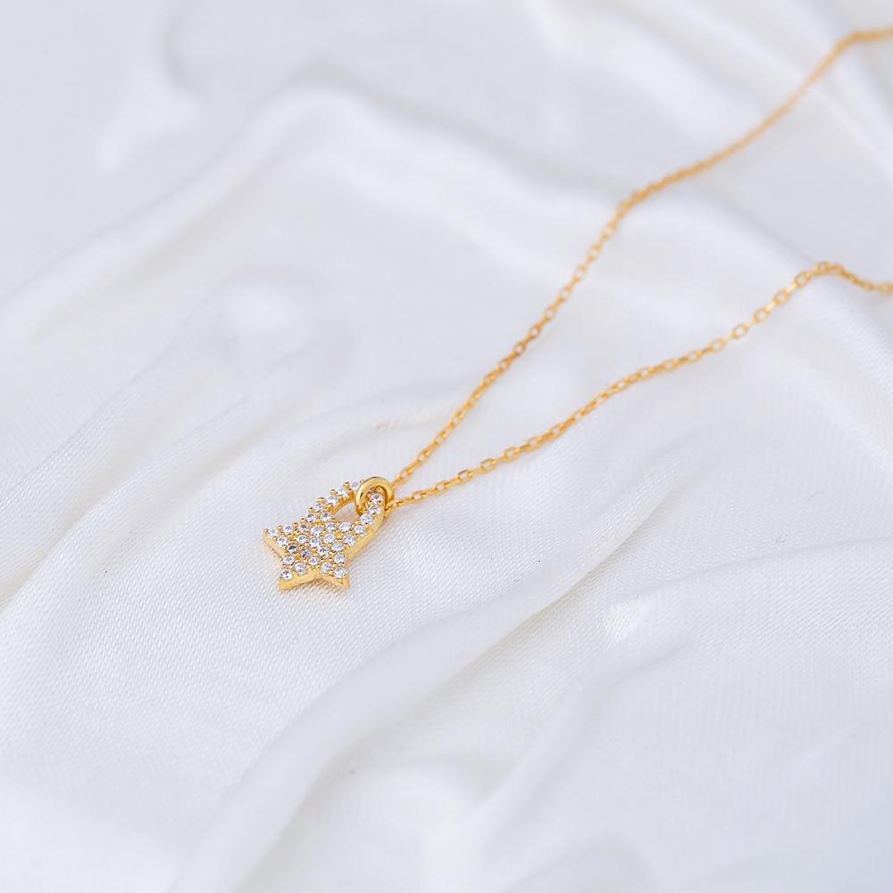 Star Design Minimalist Necklace Pendant Turkish Handmade 925 Sterling Silver Jewelry