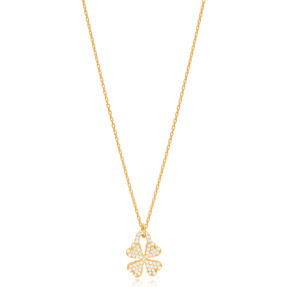 Four Leaf Clover Design Necklace Pendant Turkish Handmade 925 Sterling Silver Jewelry