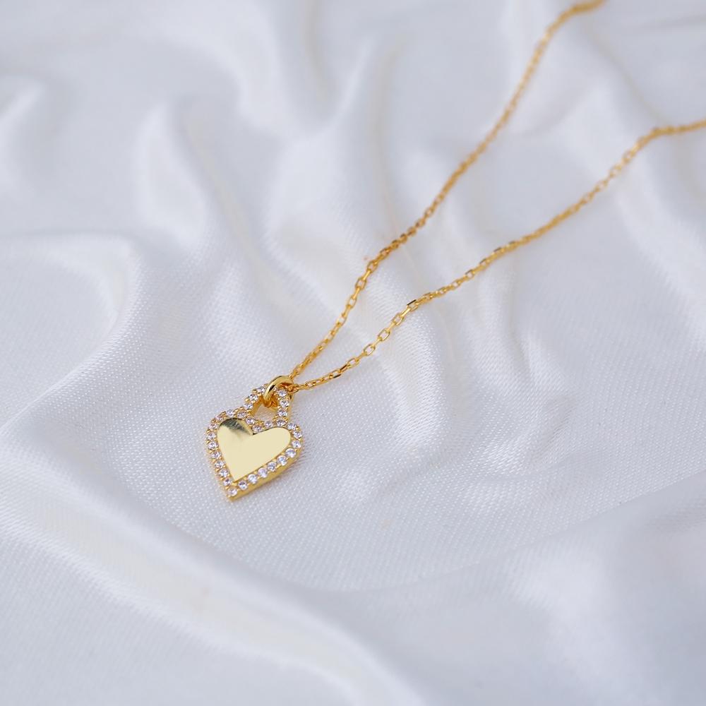 Heart Design CZ Stone Minimalist Necklace Pendant Turkish Handmade 925 Sterling Silver Jewelry