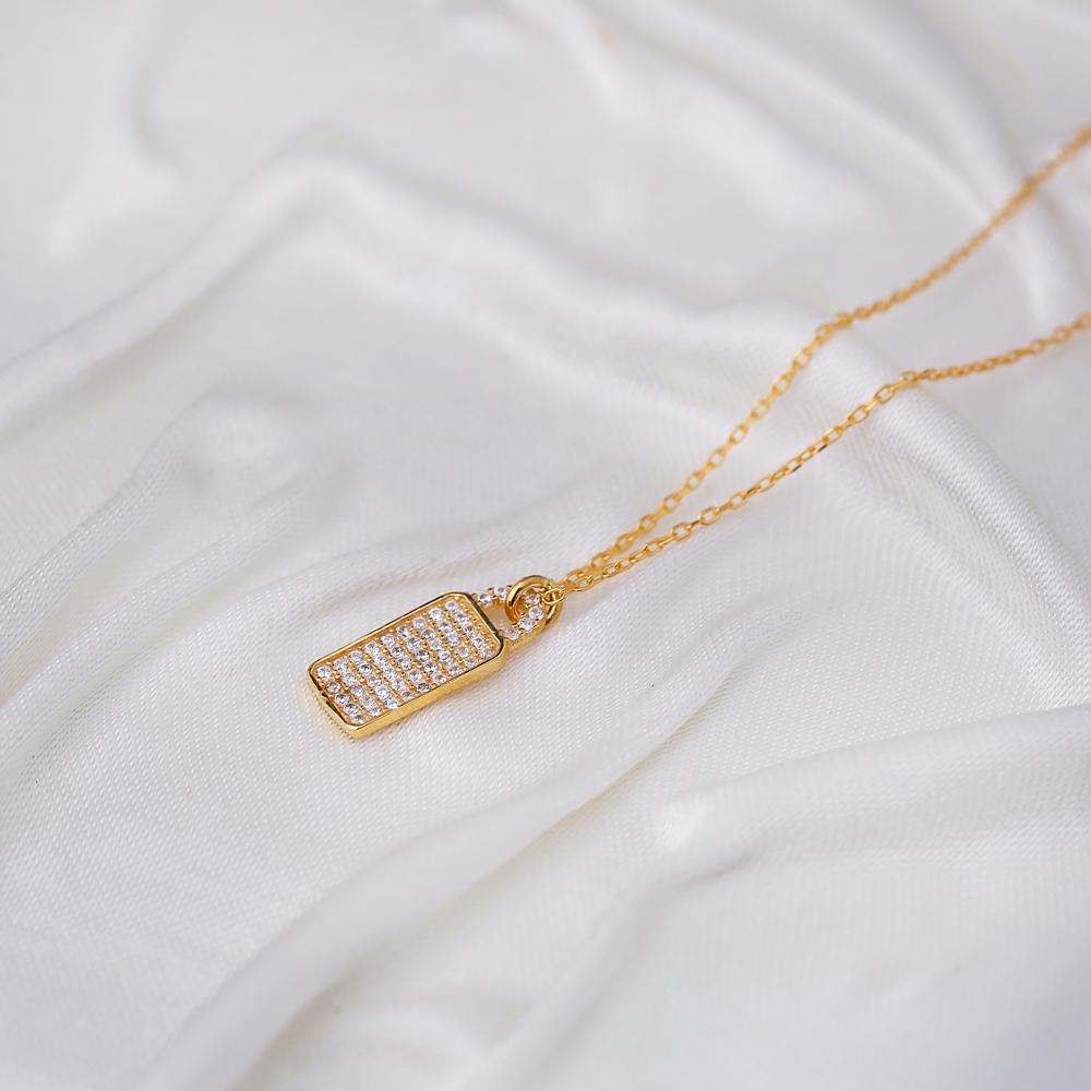 Rectangle Design CZ Stone Minimalist Necklace Pendant Turkish Handmade 925 Sterling Silver Jewelry