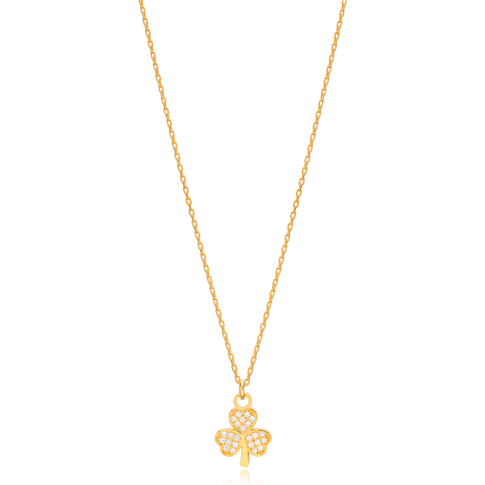 Three Leaf Clover CZ Stone Necklace Pendant Turkish Handmade 925 Sterling Silver Jewelry