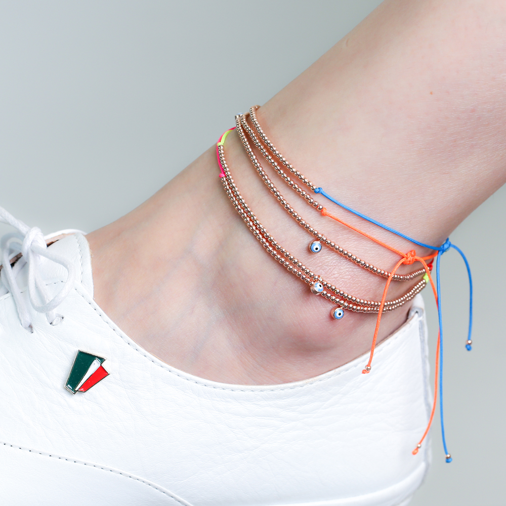 Blue String Ball Evil Eye Charm Anklet Wholesale Turkish 925 Sterling Silver Jewelry