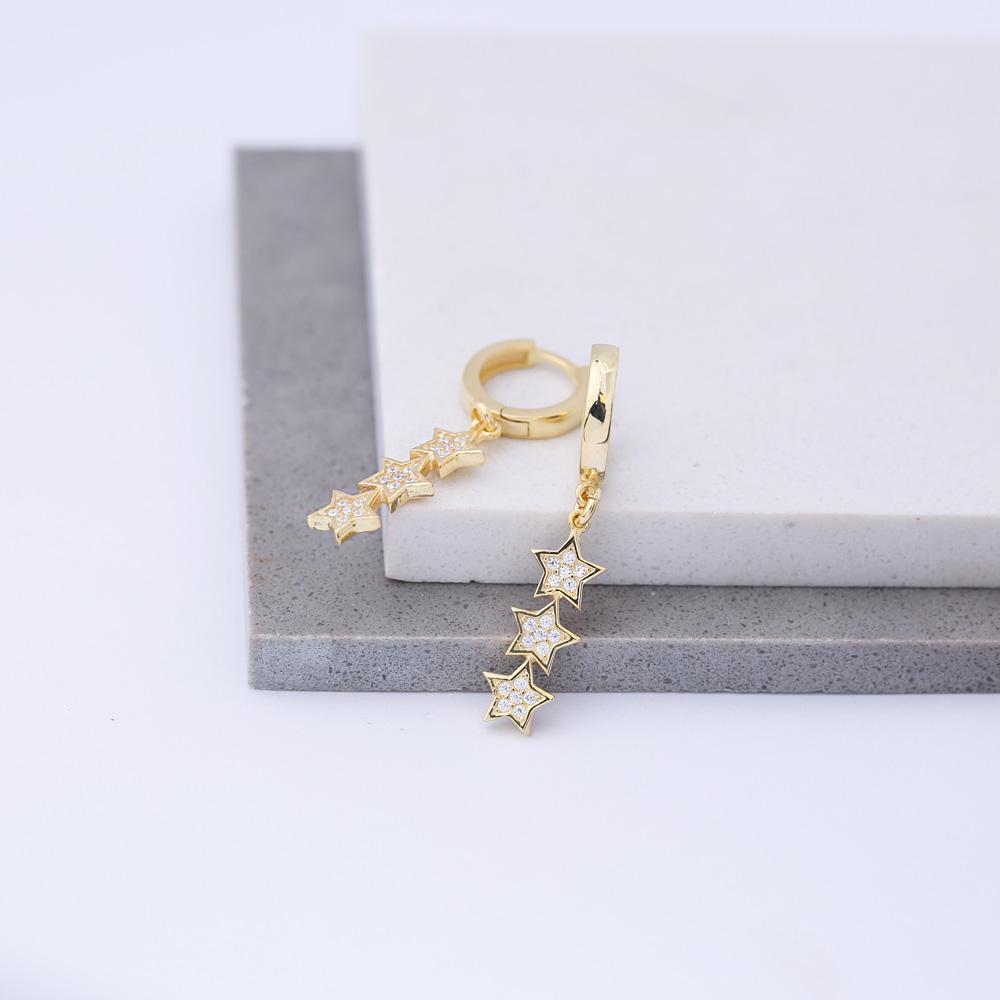 Triple Star Design Charm Earring Turkish Handmade 925 Sterling Silver Jewelry