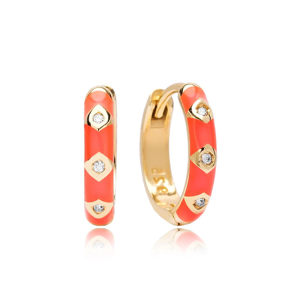 Neon Pink Enamel Wholesale Turkish 925 Sterling Silver Earrings