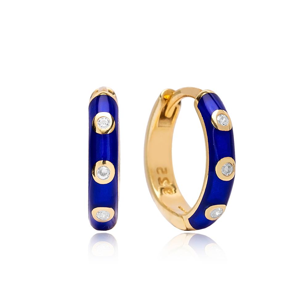 Neon Navy Blue Enamel Wholesale Turkish 925 Sterling Silver Earrings