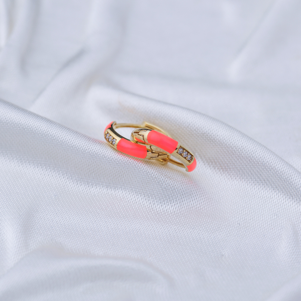 Fashionable Neon Pink Enamel Earrings Wholesale Turkish 925 Sterling Silver Jewelry
