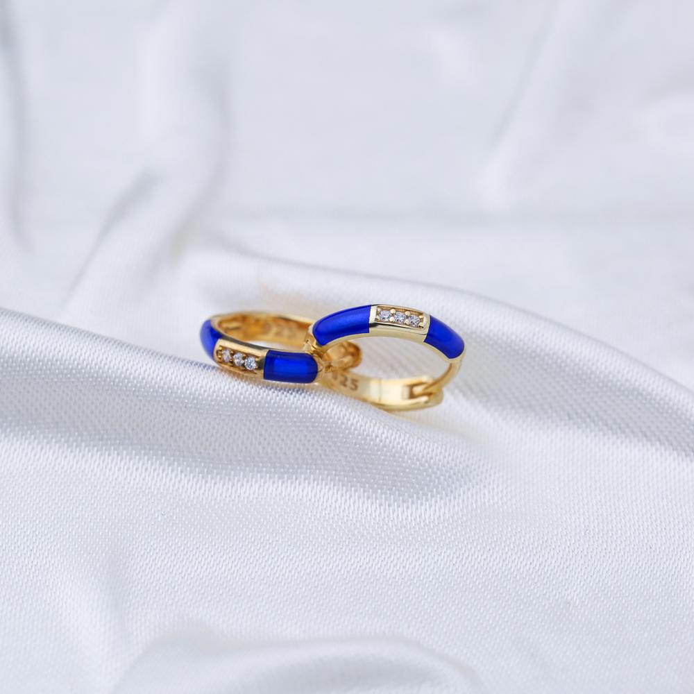 Navy Blue Enamel Wholesale Turkish 925 Sterling Silver Earrings