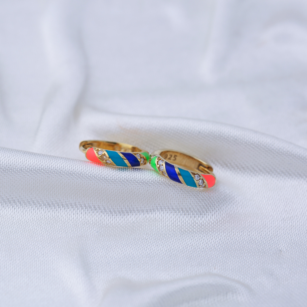Mix Color Neon Enamel Earrings Wholesale Turkish 925 Sterling Silver Jewelry