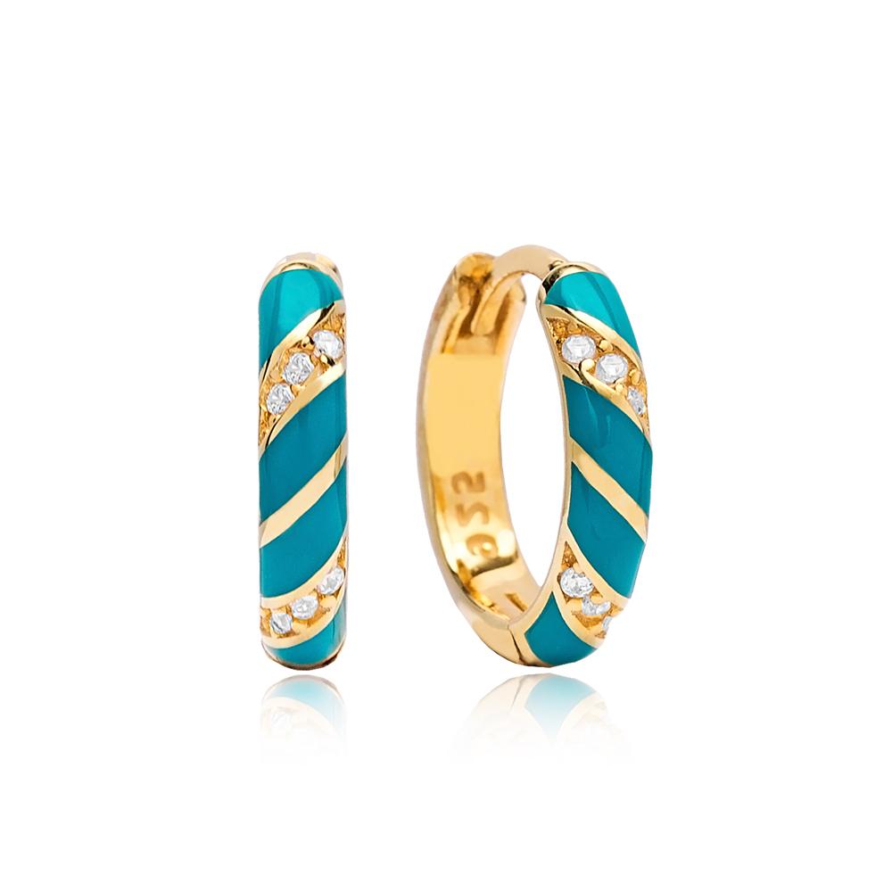 Turquoise Neon Enamel Wholesale Turkish 925 Sterling Silver Earrings