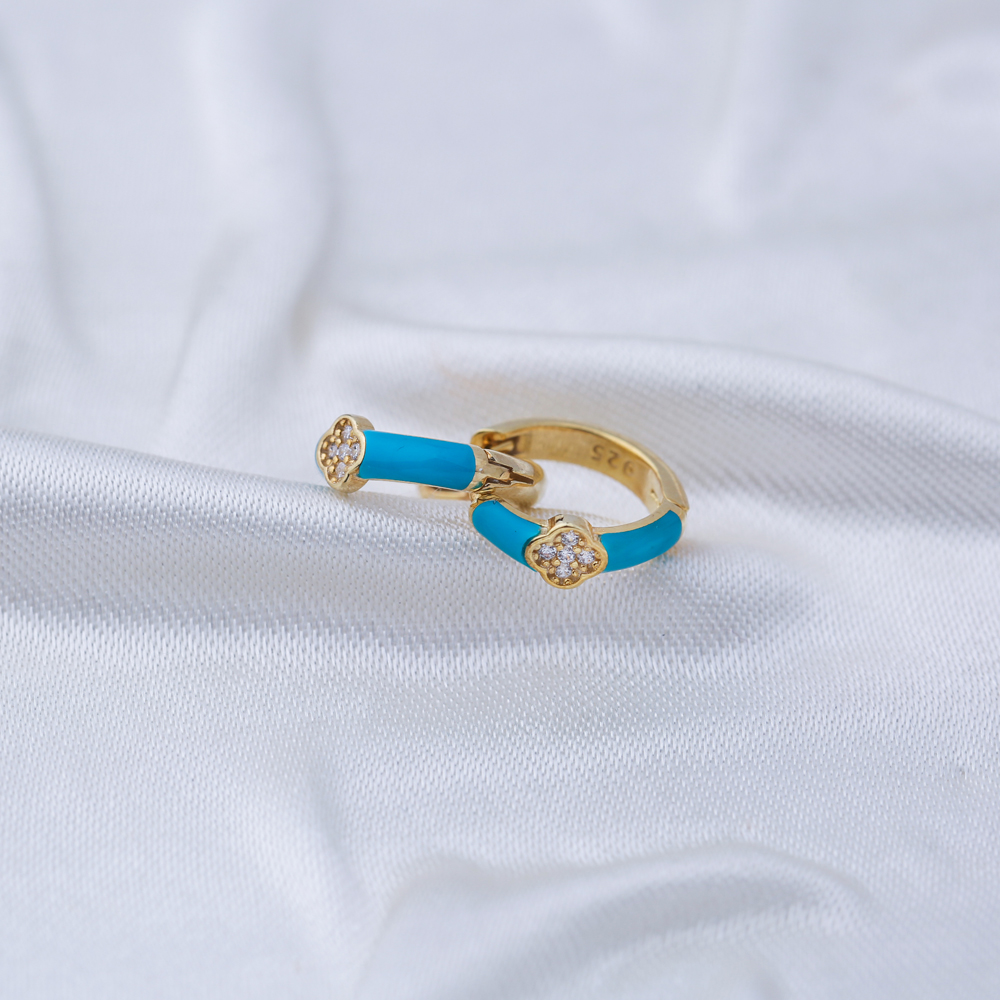 Clover Design Turquoise Enamel Wholesale Turkish 925 Sterling Silver Earrings