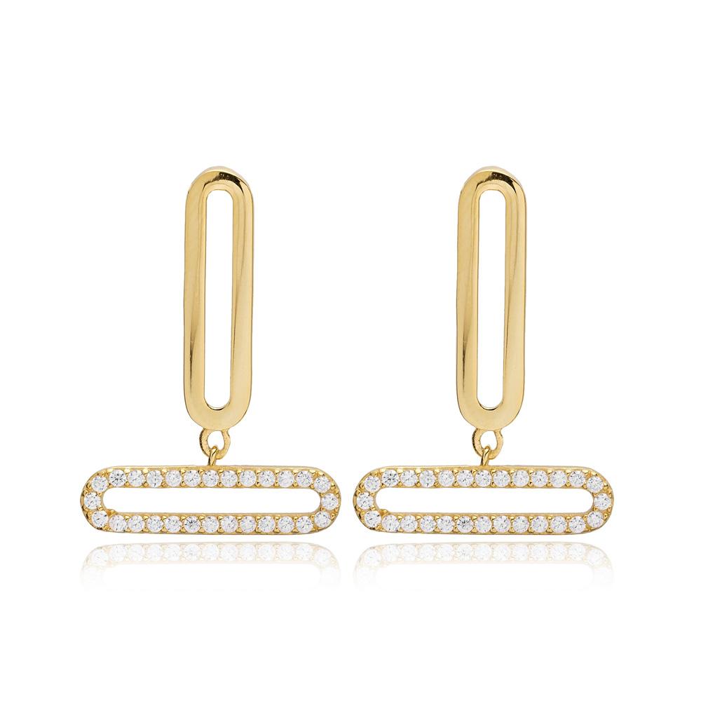 Rectangle Design Stud Dangle Earrings Turkish Handmade 925 Sterling Silver Jewelry