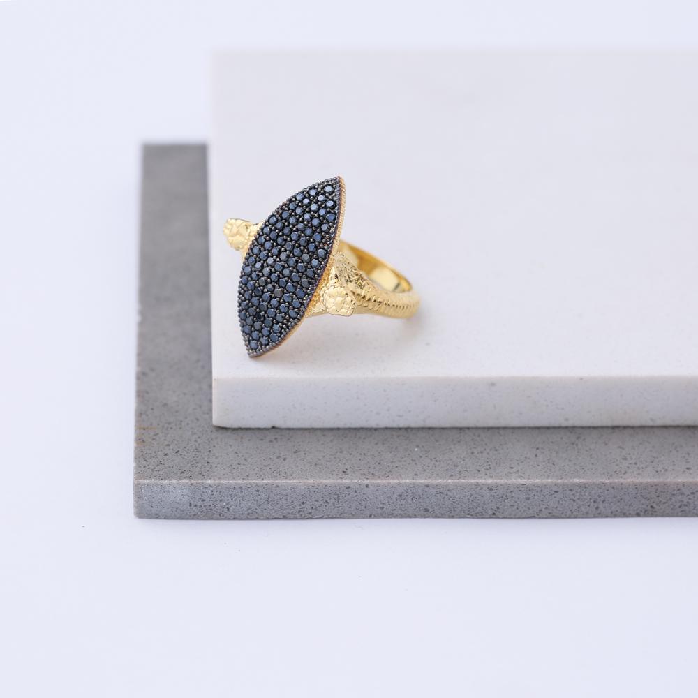 Black Zircon Unique Snake Design Ring Wholesale 925 Sterling Silver Jewelry