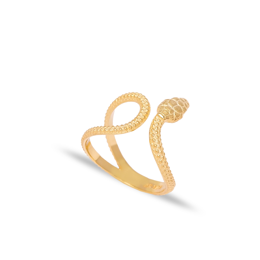 Snake Shaped Adjustable Ring Turkish Wholesale 925 Sterling Silver Jewelry