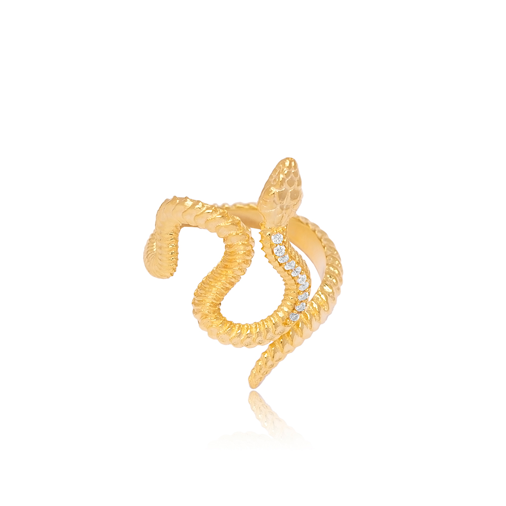 Snake Shaped Zircon Stone Adjustable Ring Turkish Wholesale 925 Sterling Silver Jewelry