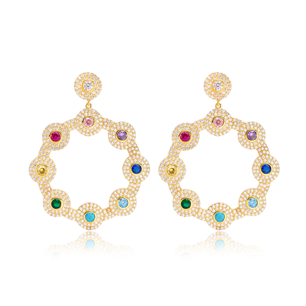 Colorful Flower Design Round Charms Long Earrings Wholesale Turkish Handmade 925 Silver Sterling Jewelry