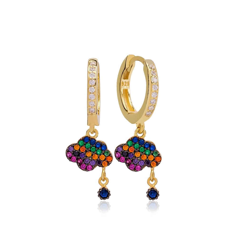 Rainbow Cloud And Sun Charms Hoop Earrings 925 Sterling Silver Jewelry