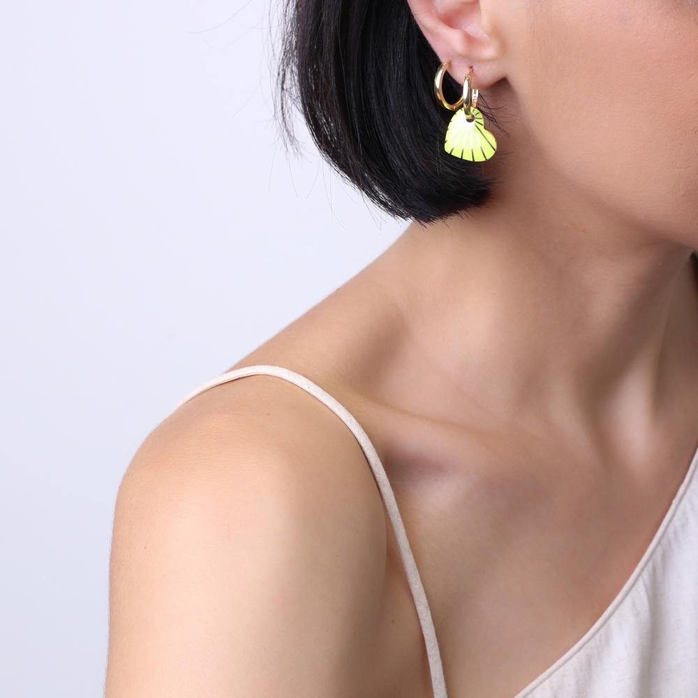 Heart Design Neon Yellow Enamel Earrings Turkish Wholesale 925 Sterling Silver Jewelry