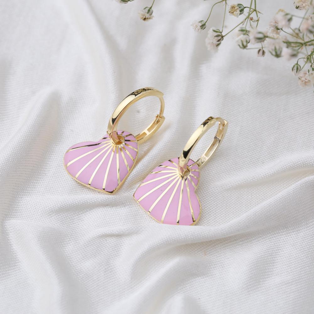 Heart Design Pink Enamel Earrings Turkish Wholesale 925 Sterling Silver Jewelry