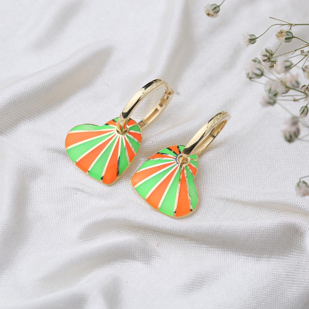 Heart Design Enameled Earrings Turkish Wholesale 925 Sterling Silver Jewelry