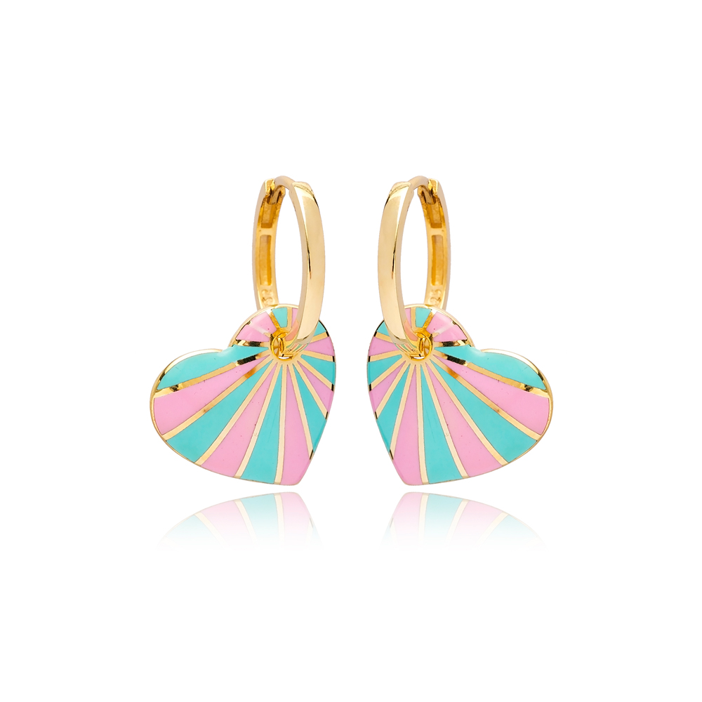 Heart Design Pink and Turquoise Enamel Turkish Wholesale 925 Sterling Silver Earrings