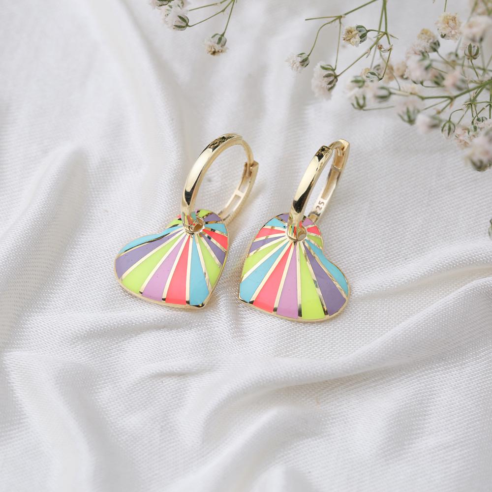 Heart Design Colorful Enamel Earrings Turkish Wholesale 925 Sterling Silver Jewelry