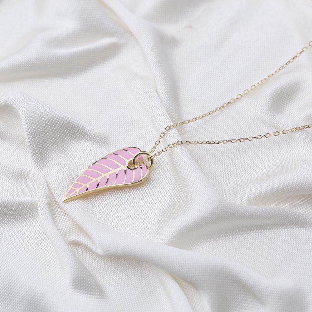 Pink Enamel Color Leaf Design Summer Necklace Turkish 925 Sterling Silver Jewelry