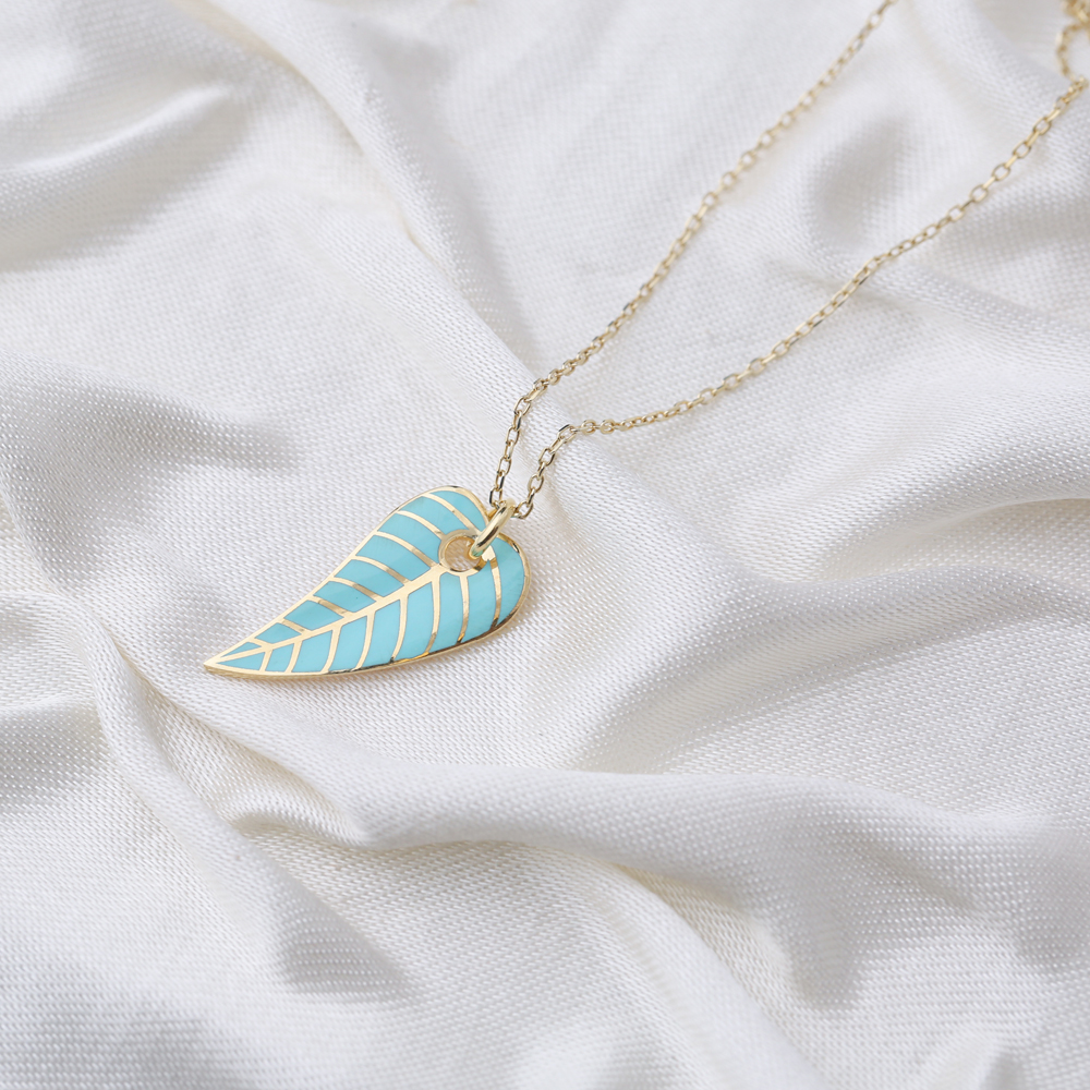 Green Enamel Color Leaf Design Summer Pendant Turkish 925 Sterling Silver Jewelry