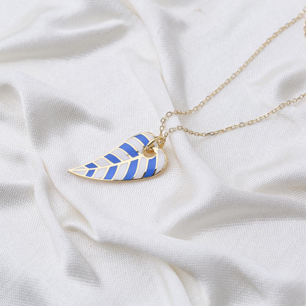 Trendy Enamel Leaf Design Summer Necklace Pendant Turkish 925 Sterling Silver Jewelry