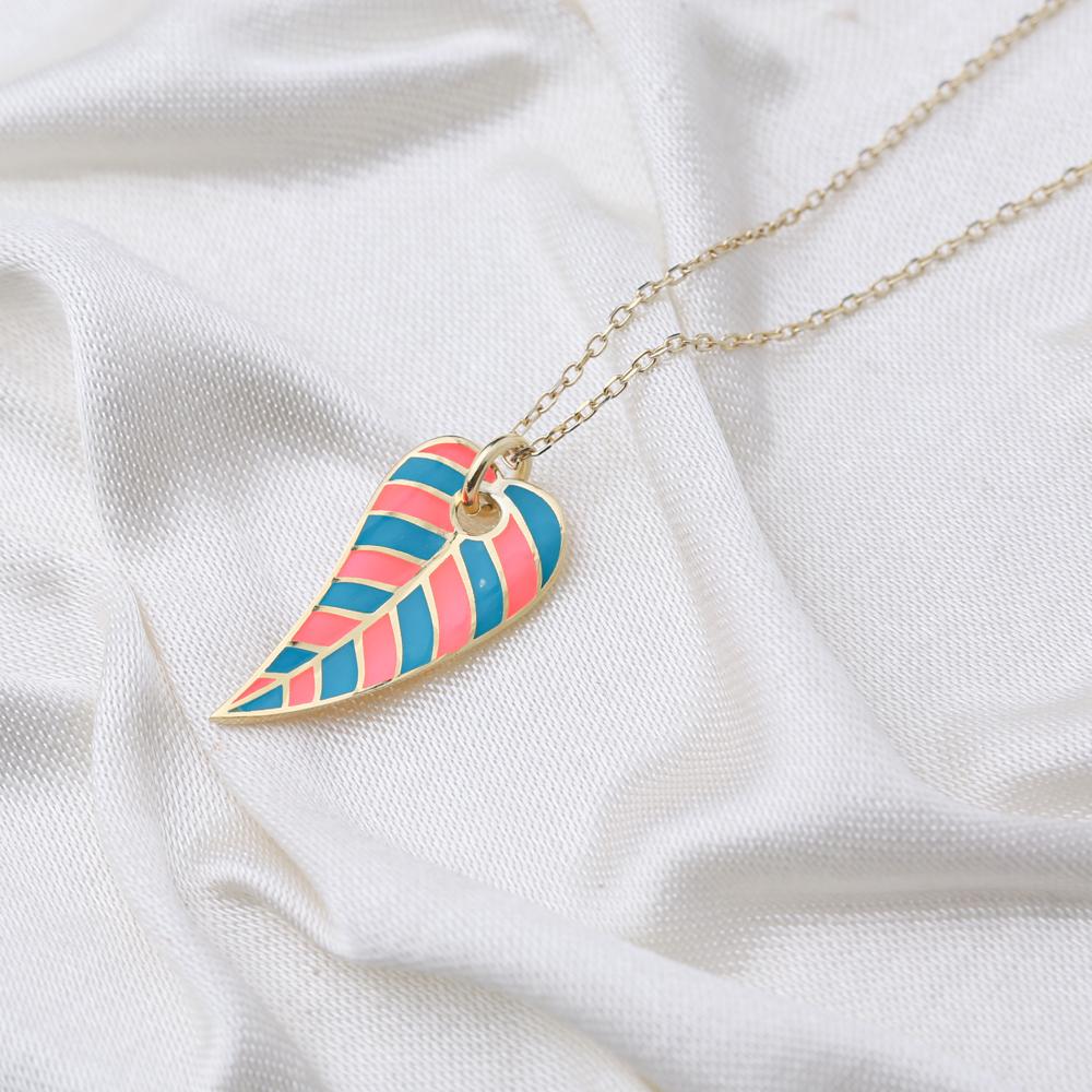 Trendy Summer Design Enamel Leaf Shape Necklace Turkish 925 Sterling Silver Jewelry