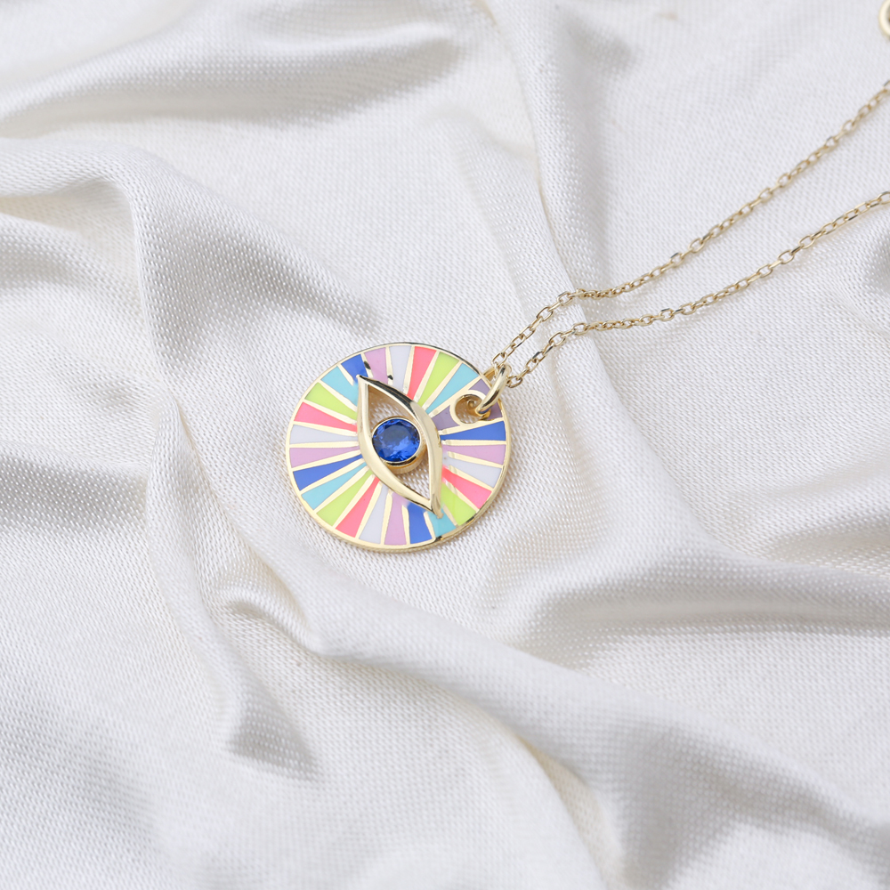 Colorful Enamel Candy Design Eye Shape Necklace Turkish 925 Sterling Silver Jewelry