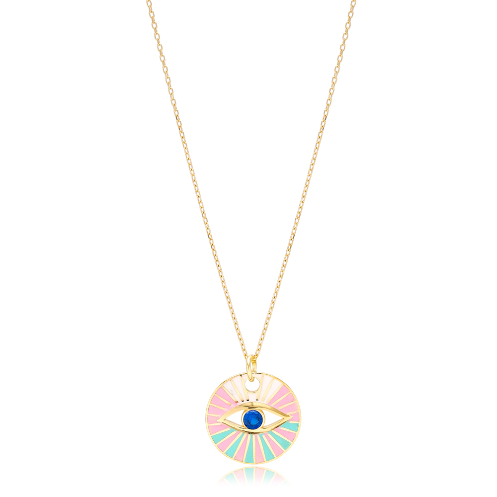 Round Eye Shape Colorful Enamel Pendant Handmade Turkish 925 Sterling Silver Jewelry