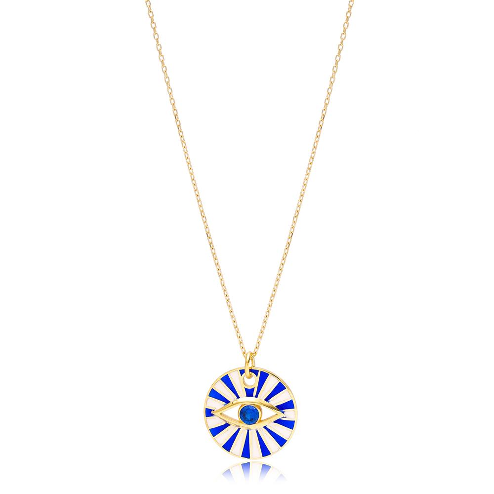 Eye Shape Round Enamel Necklace Pendant Handmade Turkish 925 Sterling Silver Jewelry