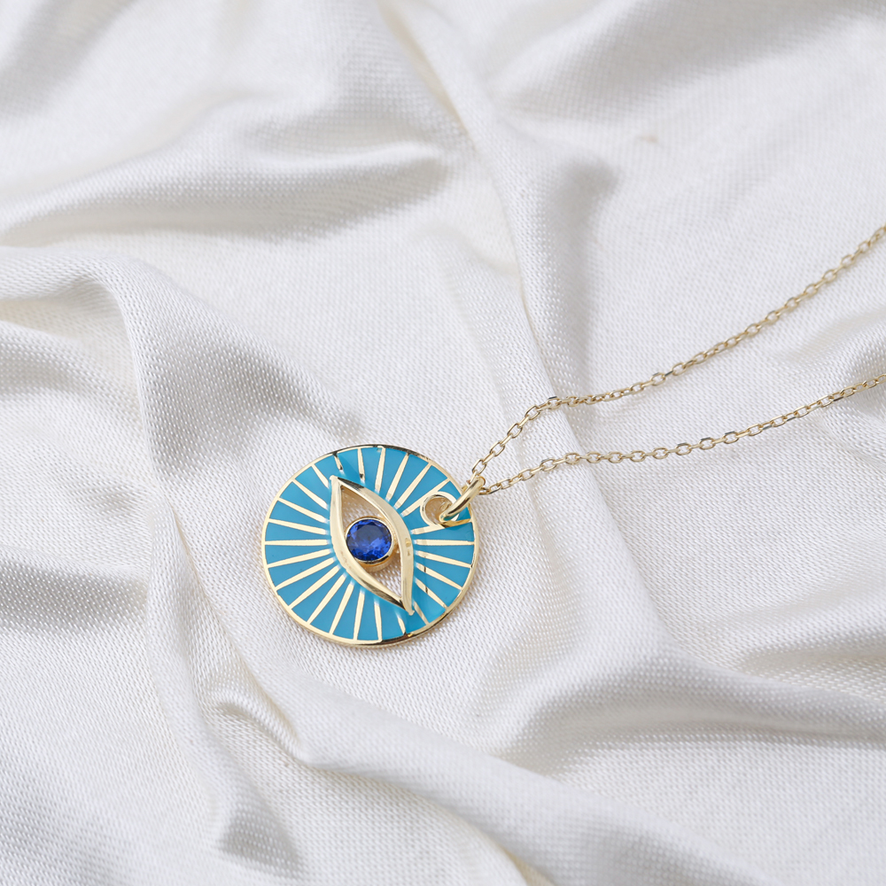 Eye Design Round Enamel Pendant Handcrafted Turkish 925 Sterling Silver Jewelry