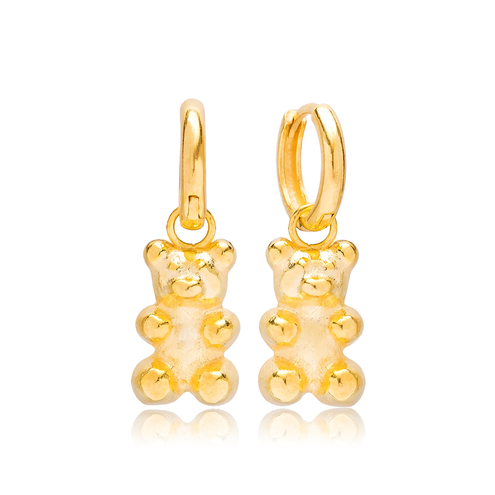 Gold Gummybear Dangle Earring Turkish 925 Sterling Silver Jewelry