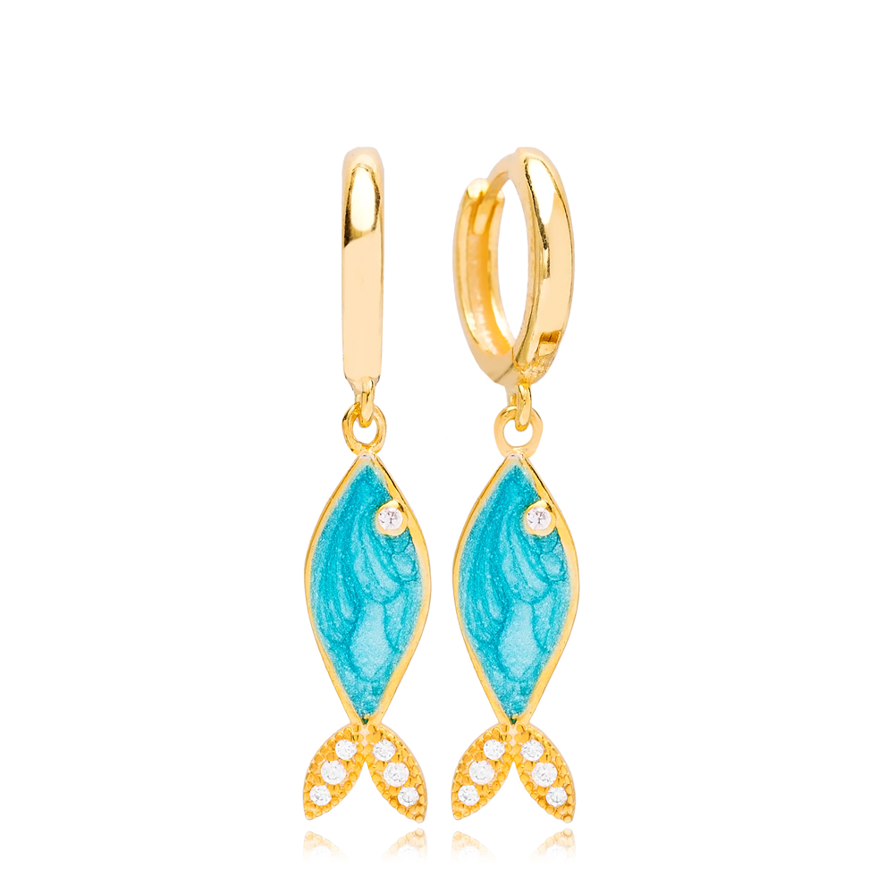 Fish Design Turquoise Opal Stone Dangle Earring Wholesale Turkish 925 Silver Sterling Jewelry