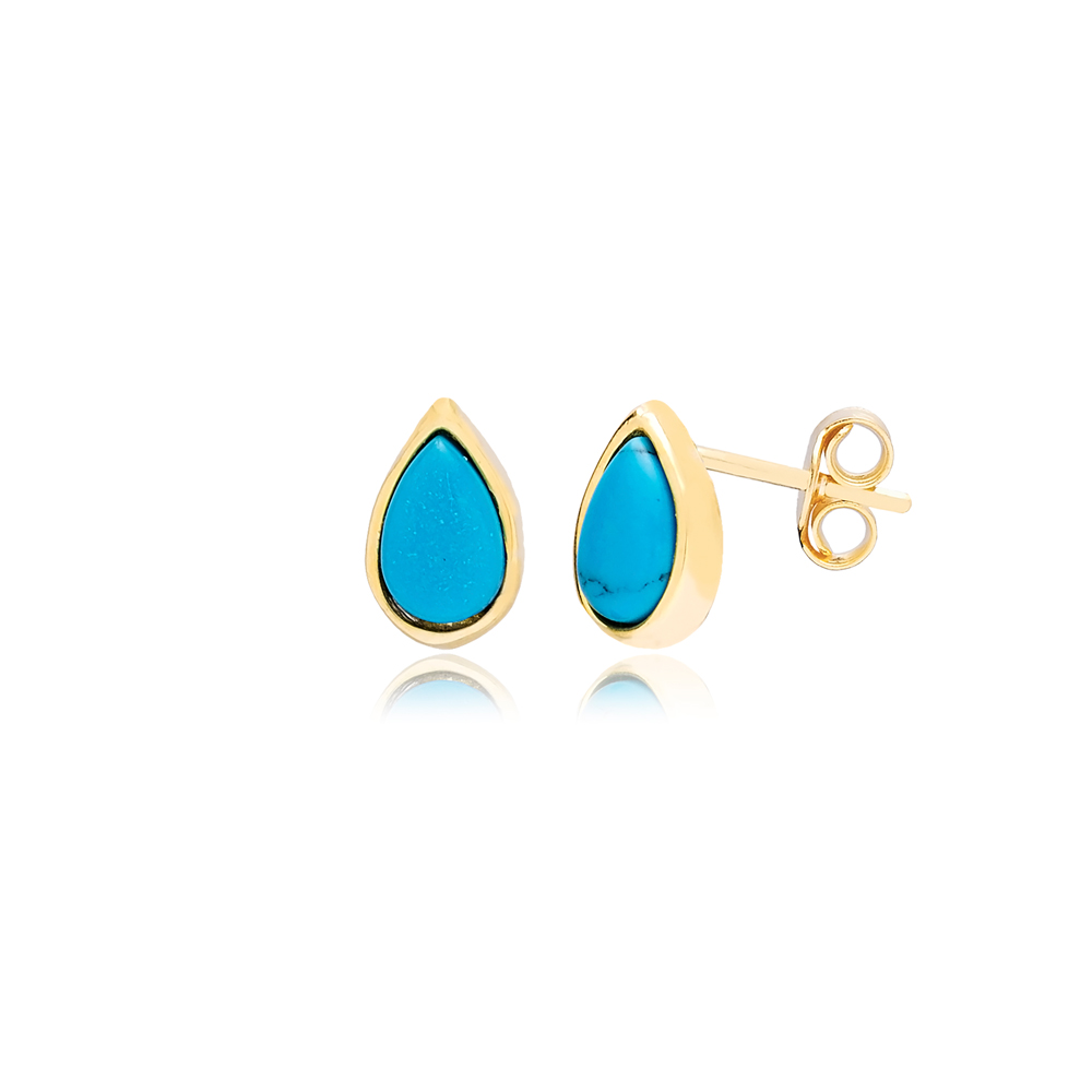 Minimalist Design Turquoise Drop Stone Stud Turkish Wholesale Handcrafted Silver Earring
