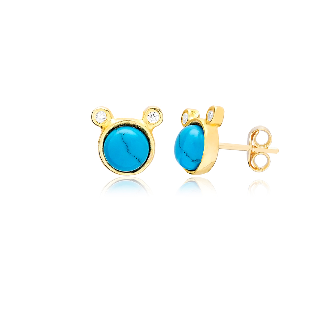 Round Turquoise and Double Zircon Stone Stud Turkish Wholesale Handcrafted Silver Earring