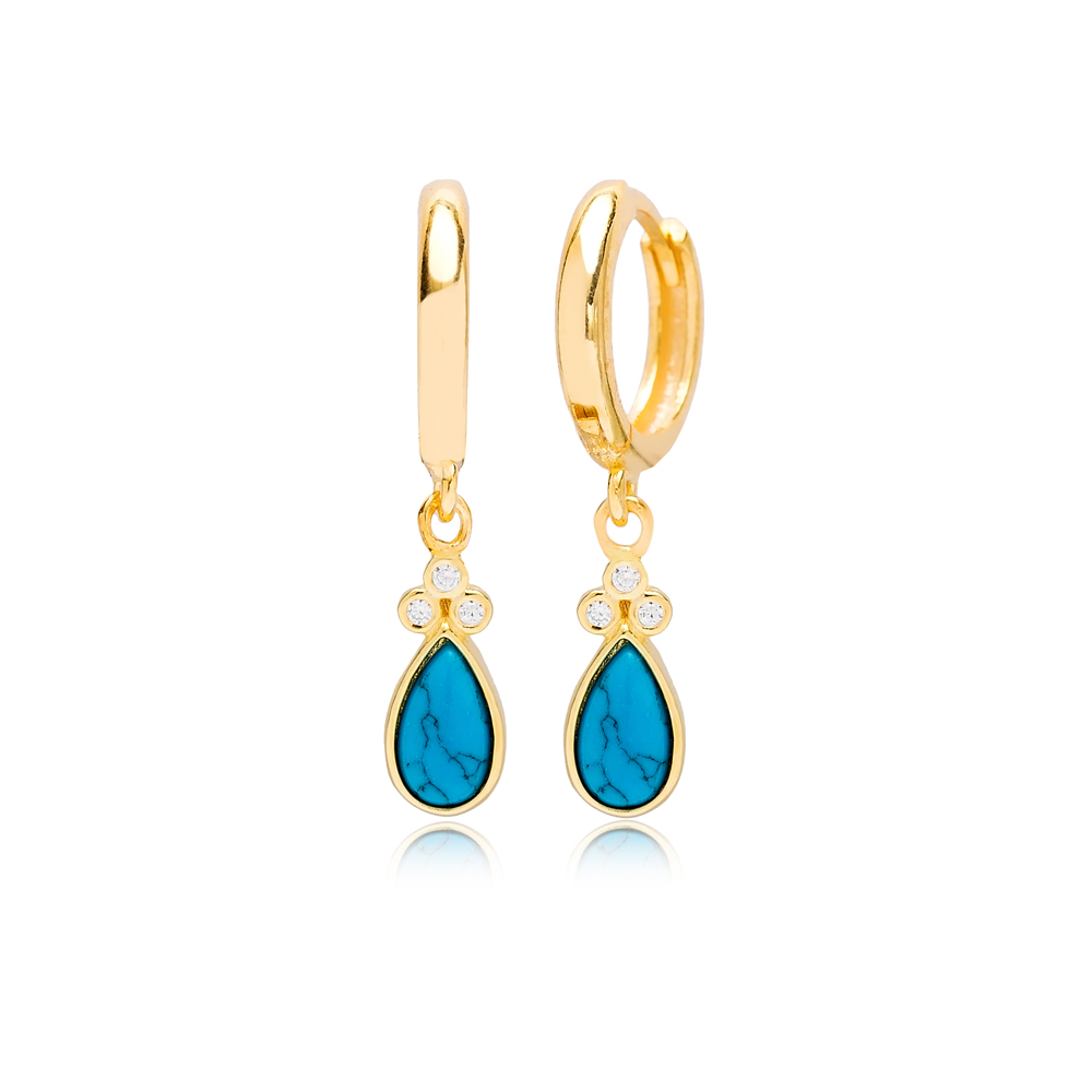 Drop Turquoise Shape and Three Zircon Stone Turkish Wholesale 925 Sterling Silver Dangle Earrings