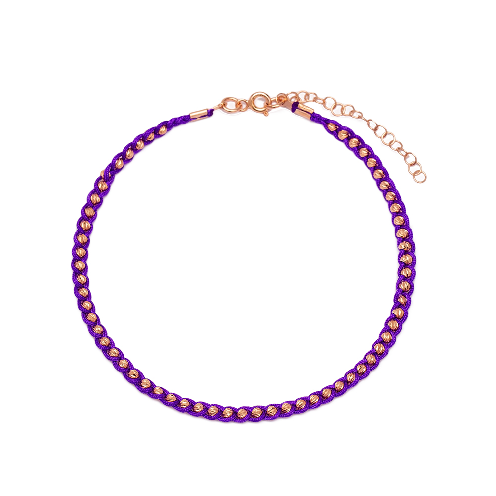 Purple Knitting Anklet Wholesale Handmade 925 Sterling Silver Jewellery
