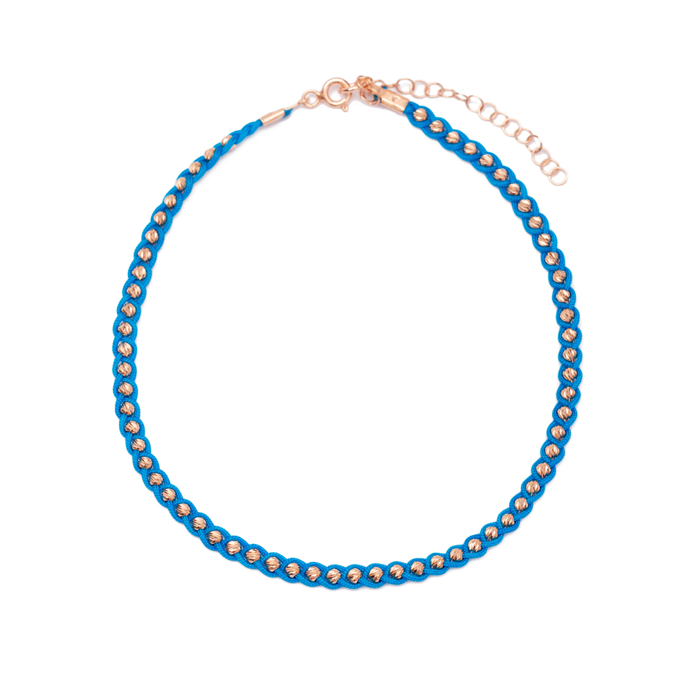Turquoise  Knitting Anklet Wholesale Handmade 925 Sterling Silver Jewellery