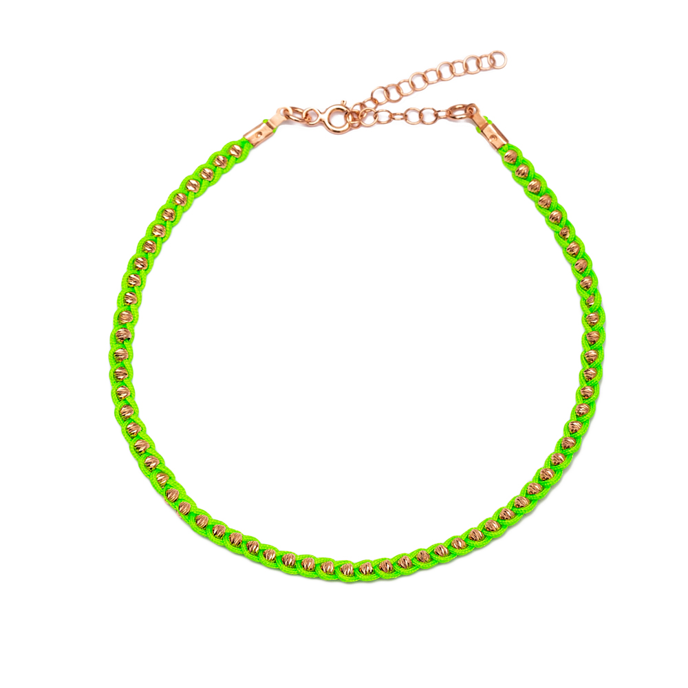 Neon Green Knitting Anklet Wholesale Handmade 925 Sterling Silver Jewellery